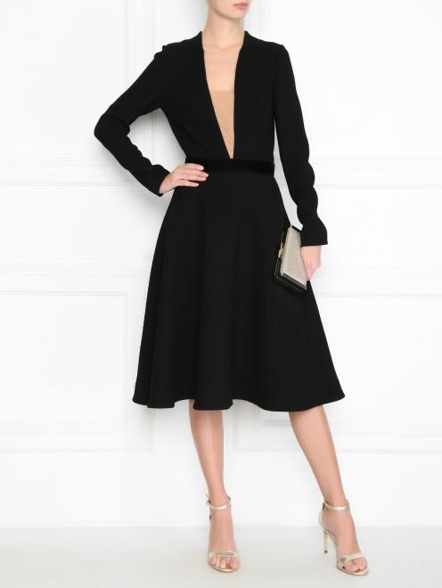 Платье из шерсти под пояс - Общий вид