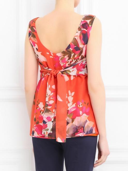 Блуза из хлопка и шелка с цветочным узором - Модель Верх-Низ1