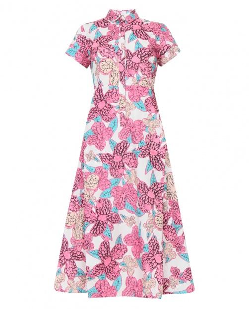 Платье-миди из хлопка с цветочным узором - Общий вид