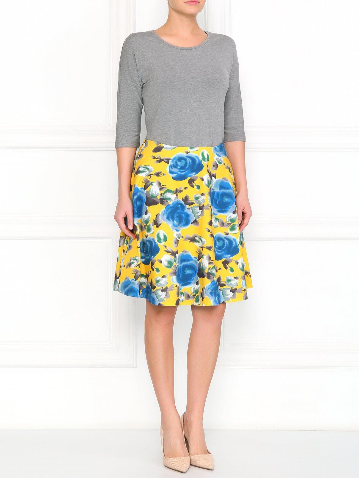 Юбка из хлопка с цветочным узором Marc by Marc Jacobs  –  Модель Общий вид  – Цвет:  Желтый