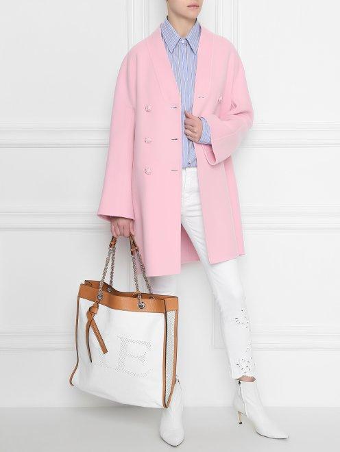 Блуза из хлопка в полоску с контрастным карманом - Общий вид