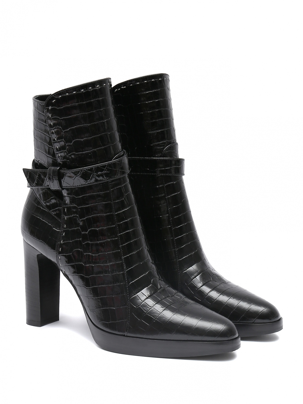 Ботильоны из фактурной кожи на устойчивом каблуке Max Mara  –  Общий вид  – Цвет:  Черный