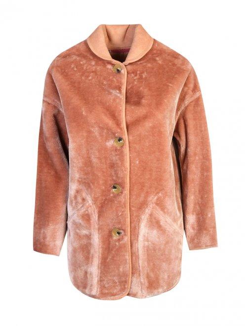 Пальто однобортное прямого силуэта на пуговицах  - Общий вид