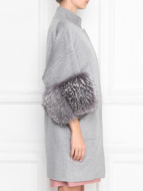 Пальто из шерсти с отделкой из меха с накладными карманами - МодельВерхНиз2