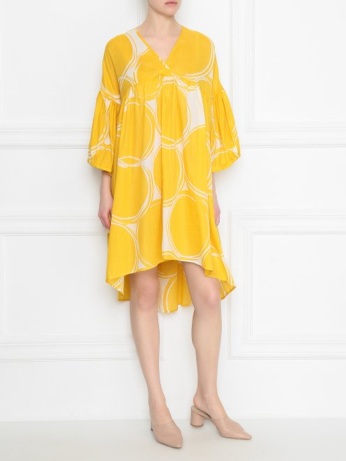 Платье из смесового хлопка свободного силуэта - Общий вид