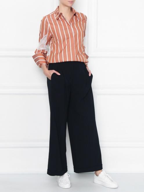 Рубашка из хлопка с кружевной отделкой - Общий вид