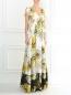 Платье-макси из шелка с цветочным узором N21  –  Модель Верх-Низ