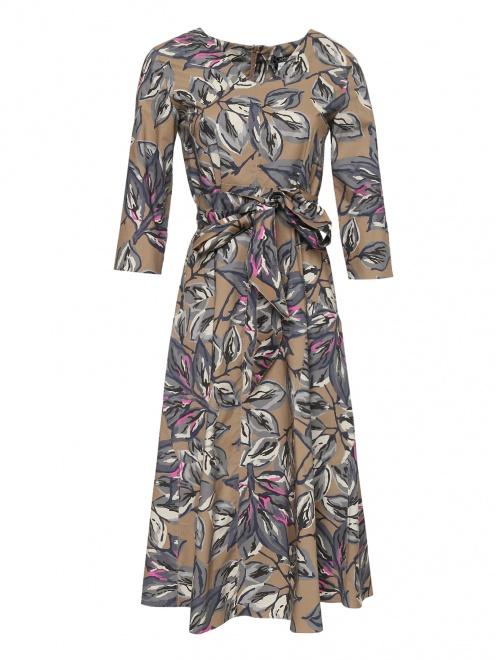 Платье из хлопка с цветочным принтом - Общий вид