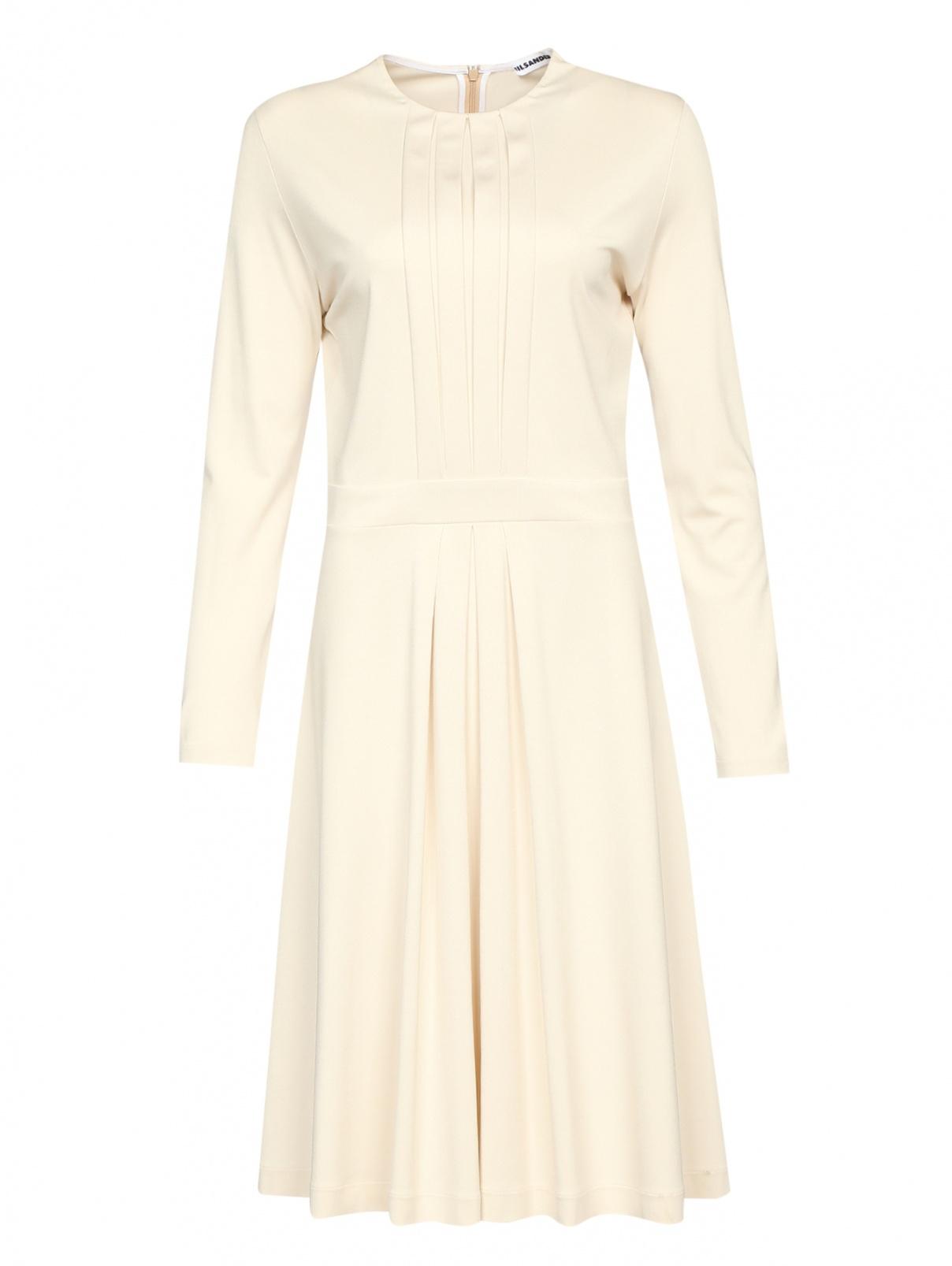 Трикотажное платье-миди с декоративными складками Jil Sander  –  Общий вид