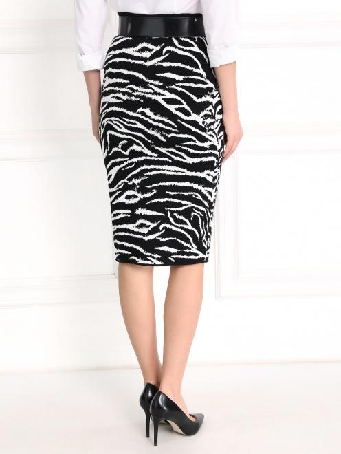 Трикотажная юбка-карандаш с анималистичным узором - Модель Верх-Низ1