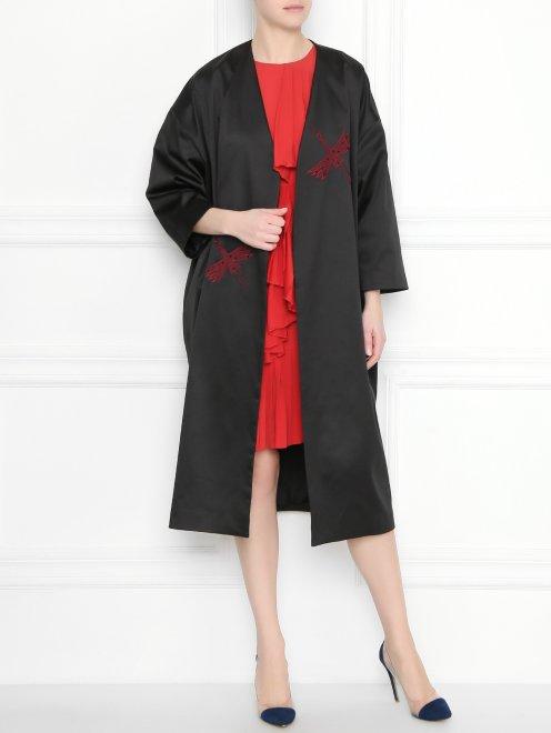 Пальто легкое, из шелка с нашивками - Общий вид