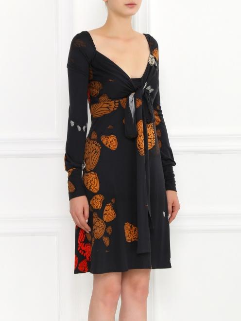 Платье-мини из шелка с узором и драпировкой  - Модель Верх-Низ