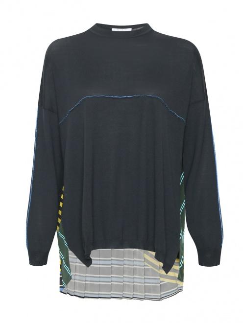 Джемпер из шерсти с контрастной вставкой - Общий вид