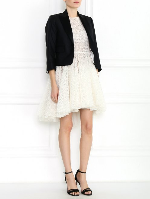 Жакет из шерсти и шелка с отложным воротником - Модель Общий вид