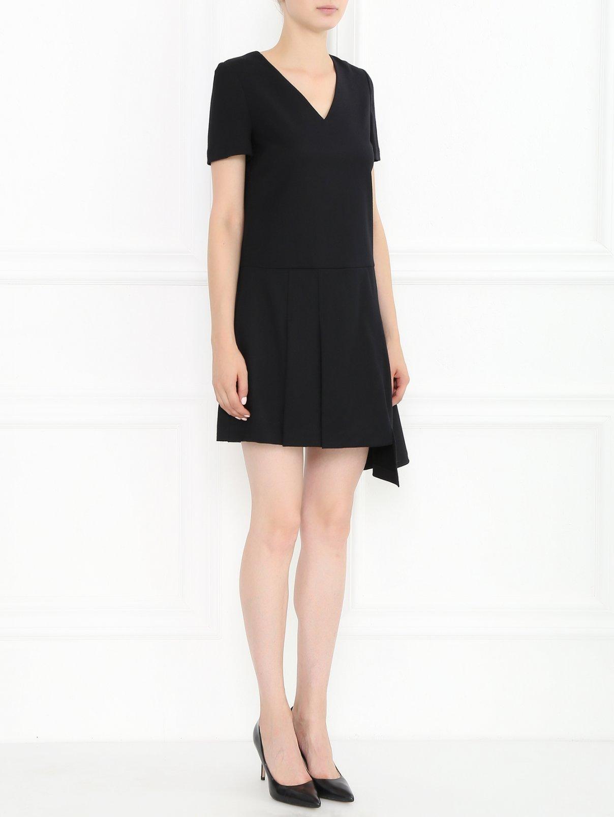 Платье-мини из шерсти с декоративной молнией Marc by Marc Jacobs  –  Модель Общий вид  – Цвет:  Черный