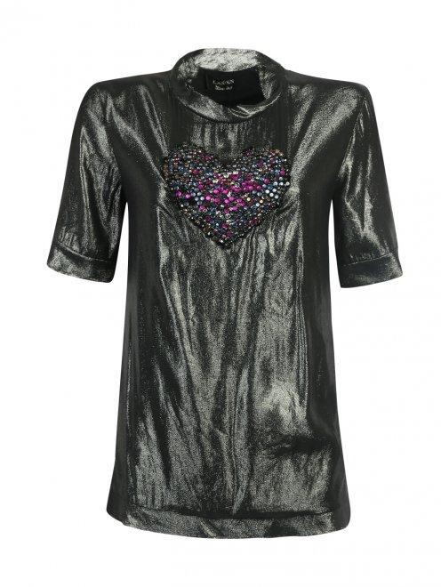 Шелковая блуза, декорированная стразами - Общий вид