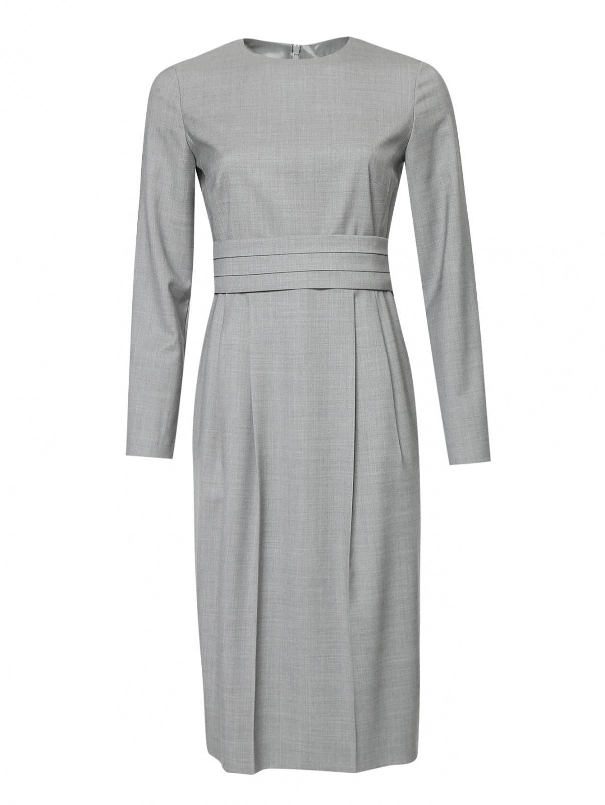 Платье-футляр из шерсти со складками на поясе Max Mara  –  Общий вид
