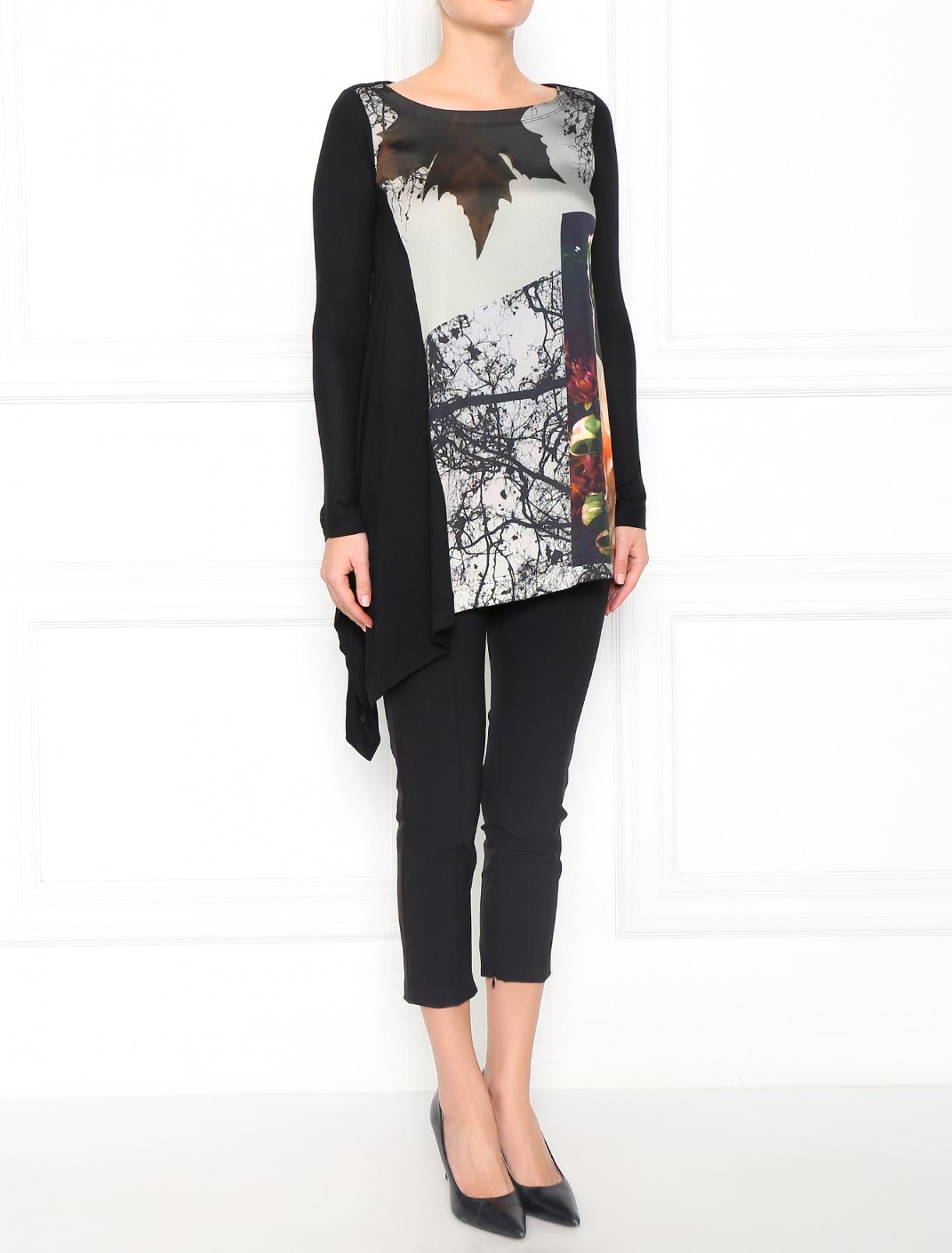 Блуза с длинным рукавом и принтом Isola Marras  –  Модель Общий вид  – Цвет:  Черный