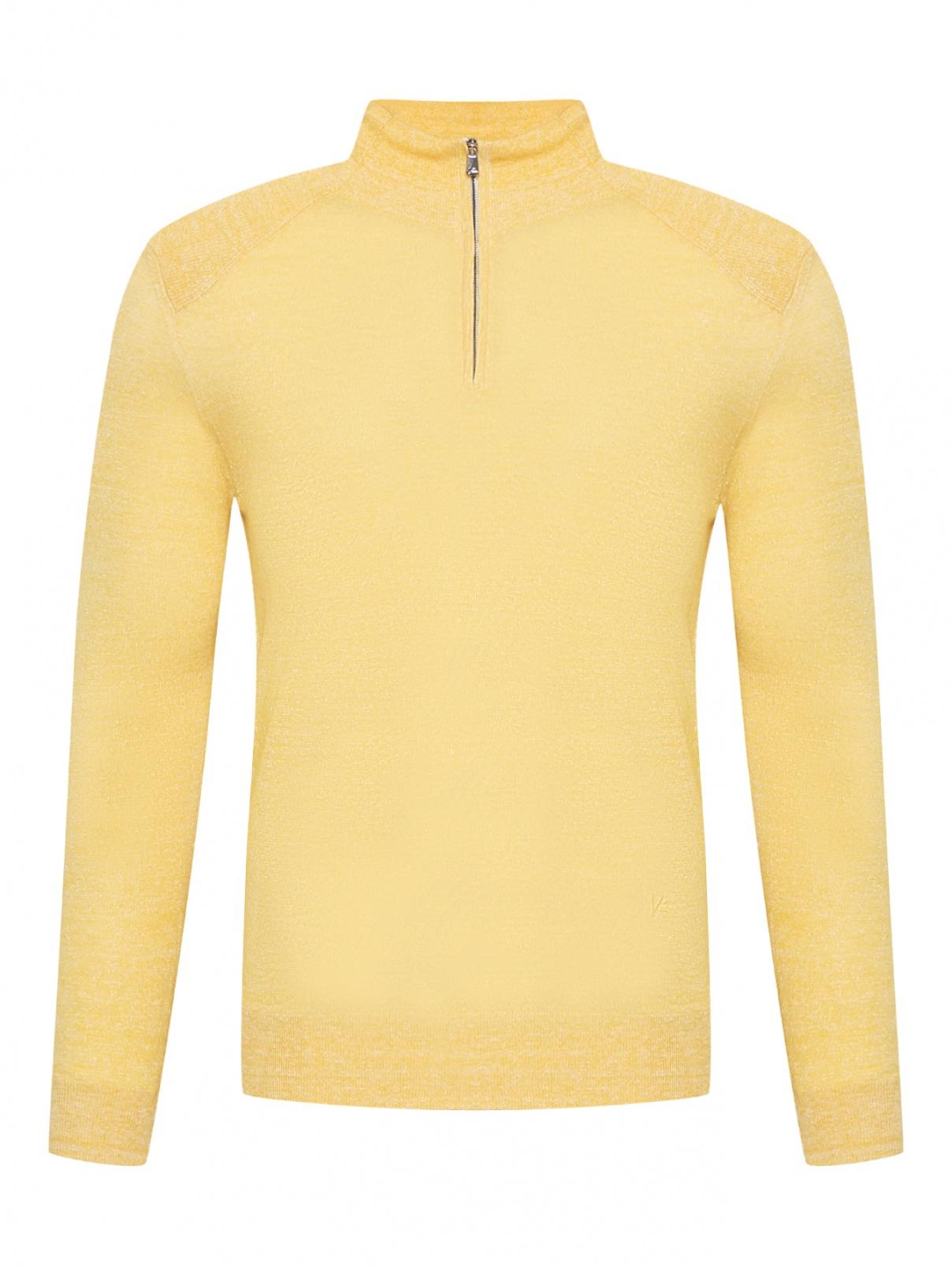Джемпер из льна и хлопка Isaia  –  Общий вид  – Цвет:  Желтый