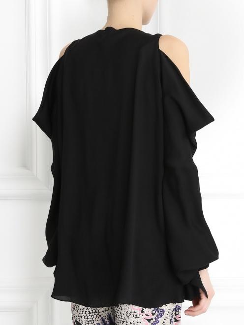 Блуза из шелка с вырезом в плечах - Модель Верх-Низ1