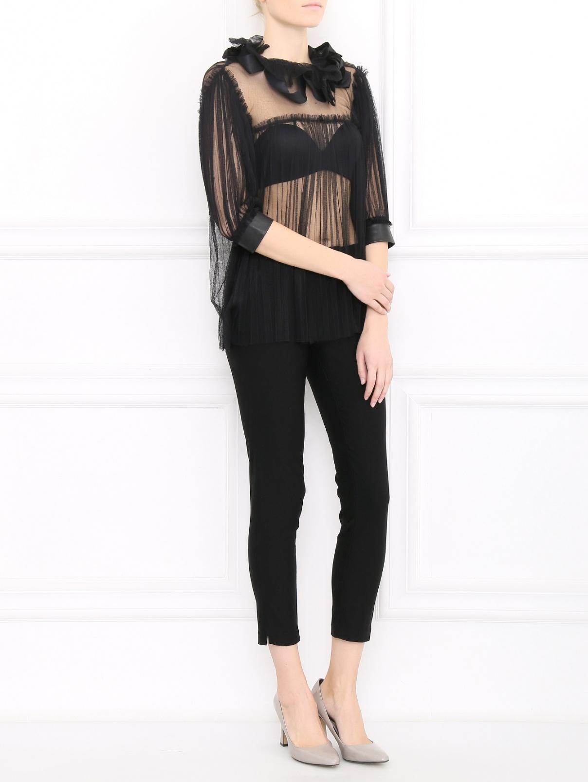 Блуза из шелка с кожаными вставками Mariella Burani  –  Модель Общий вид  – Цвет:  Черный