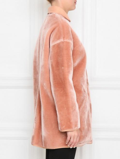 Пальто однобортное прямого силуэта на пуговицах  - МодельВерхНиз2