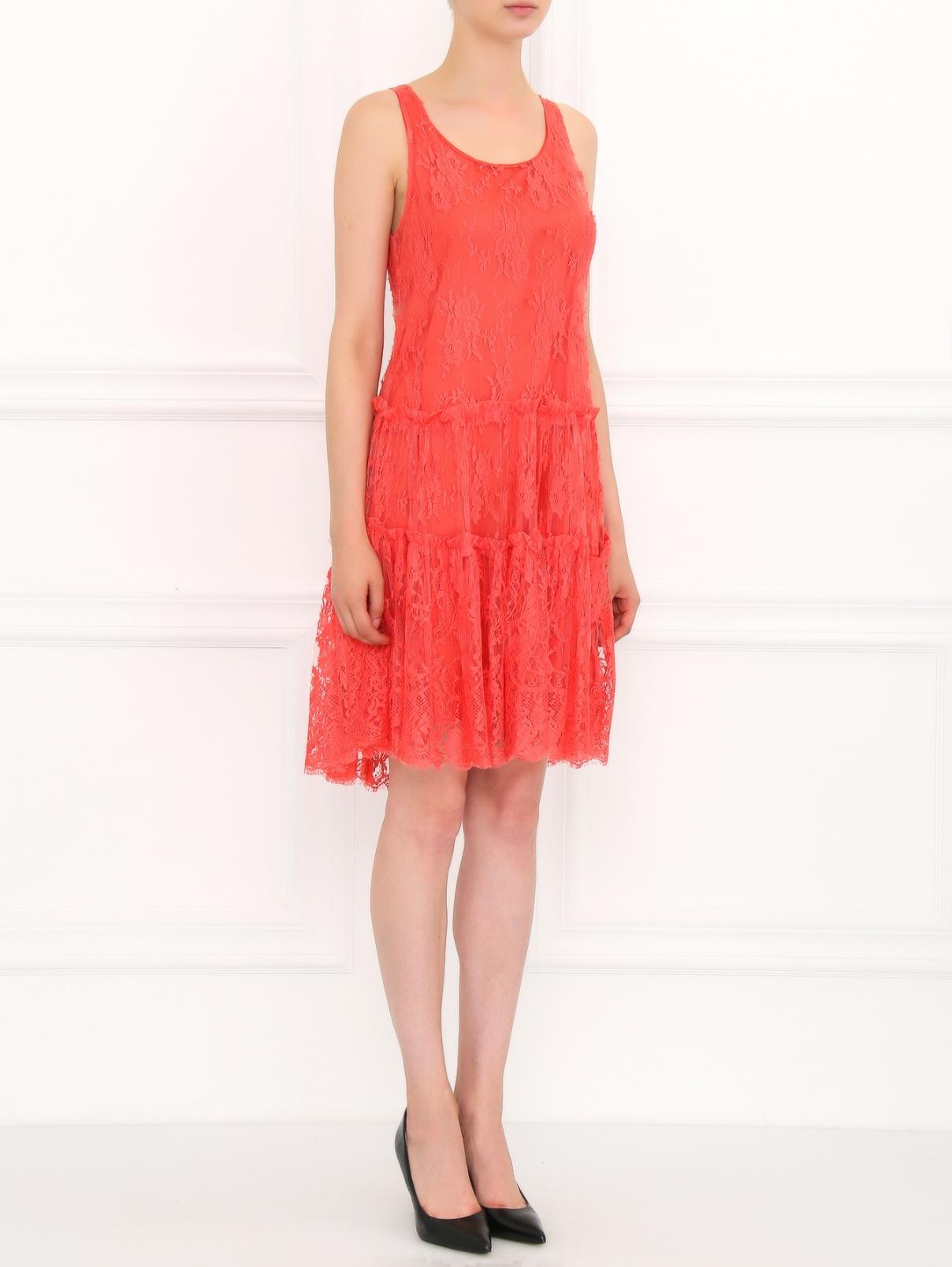 Платье из кружева с подкладкой Lil pour l'Autre  –  Модель Общий вид  – Цвет:  Красный
