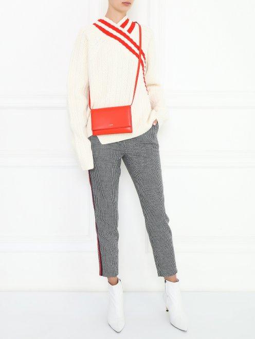 """Укороченные брюки из шерсти с узором """" клетка"""" и лампасами - Общий вид"""
