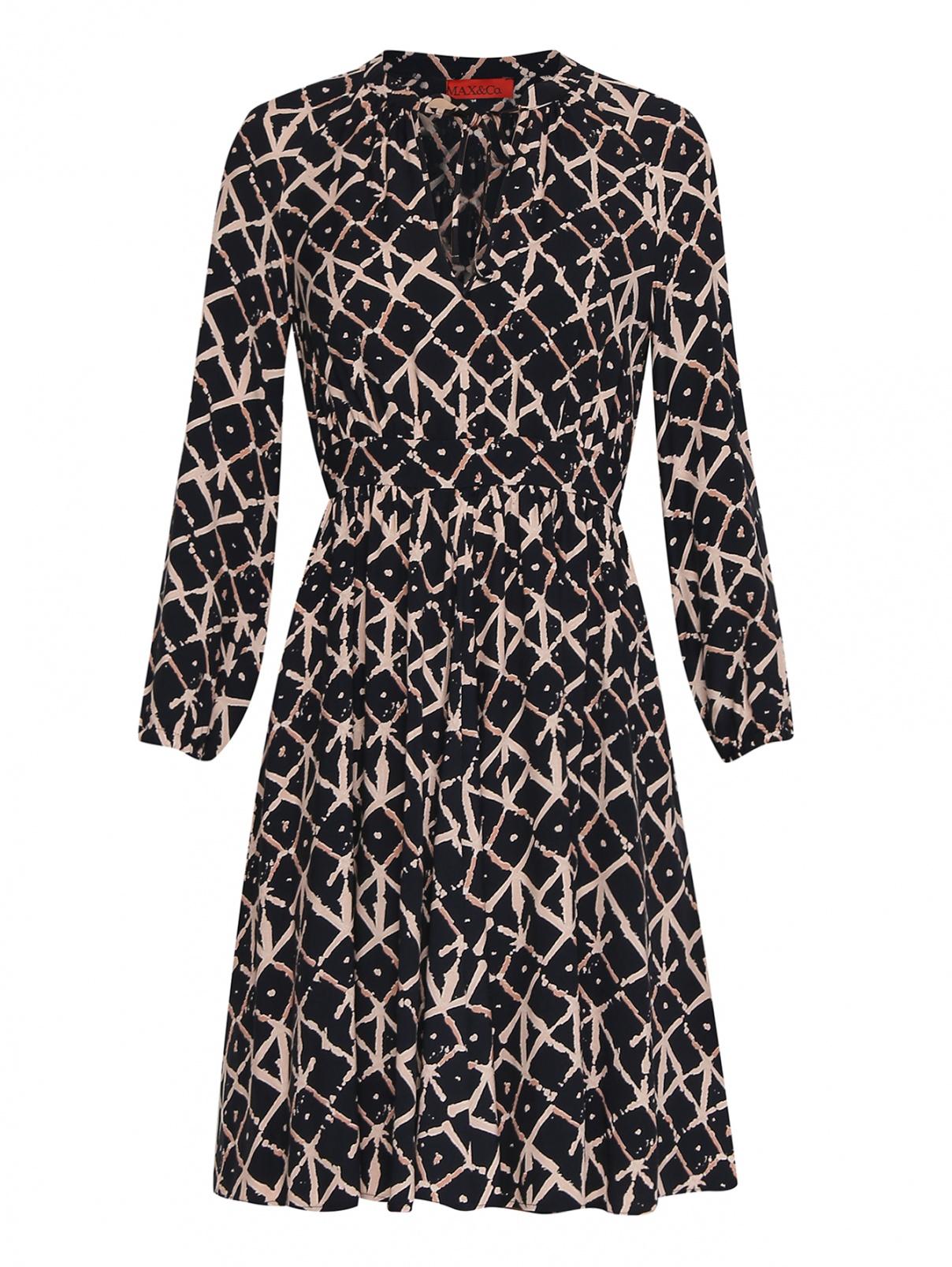 Платье из вискозы с принтом Max&Co  –  Общий вид  – Цвет:  Черный