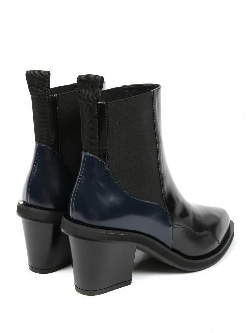 Ботинки из гладкой кожи на среднем каблуке - Обтравка2