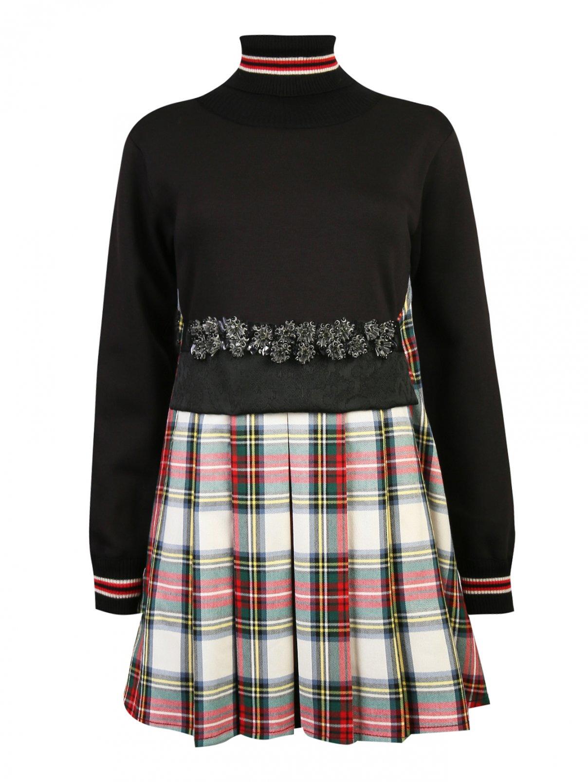 Платье из смесового хлопка с юбкой в клетку и декором на поясе Antonio Marras  –  Общий вид