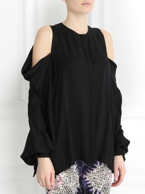 Блуза из шелка с вырезом в плечах - Модель Верх-Низ