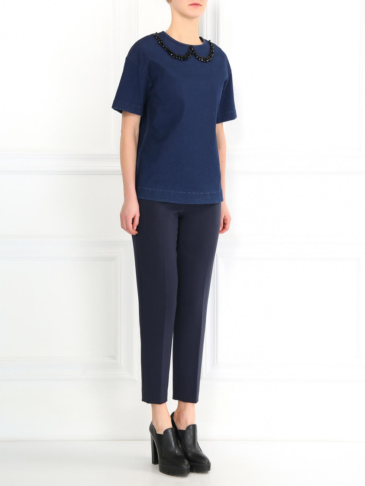 Блуза из денима декорированная бусинами N21  –  Модель Общий вид  – Цвет:  Синий