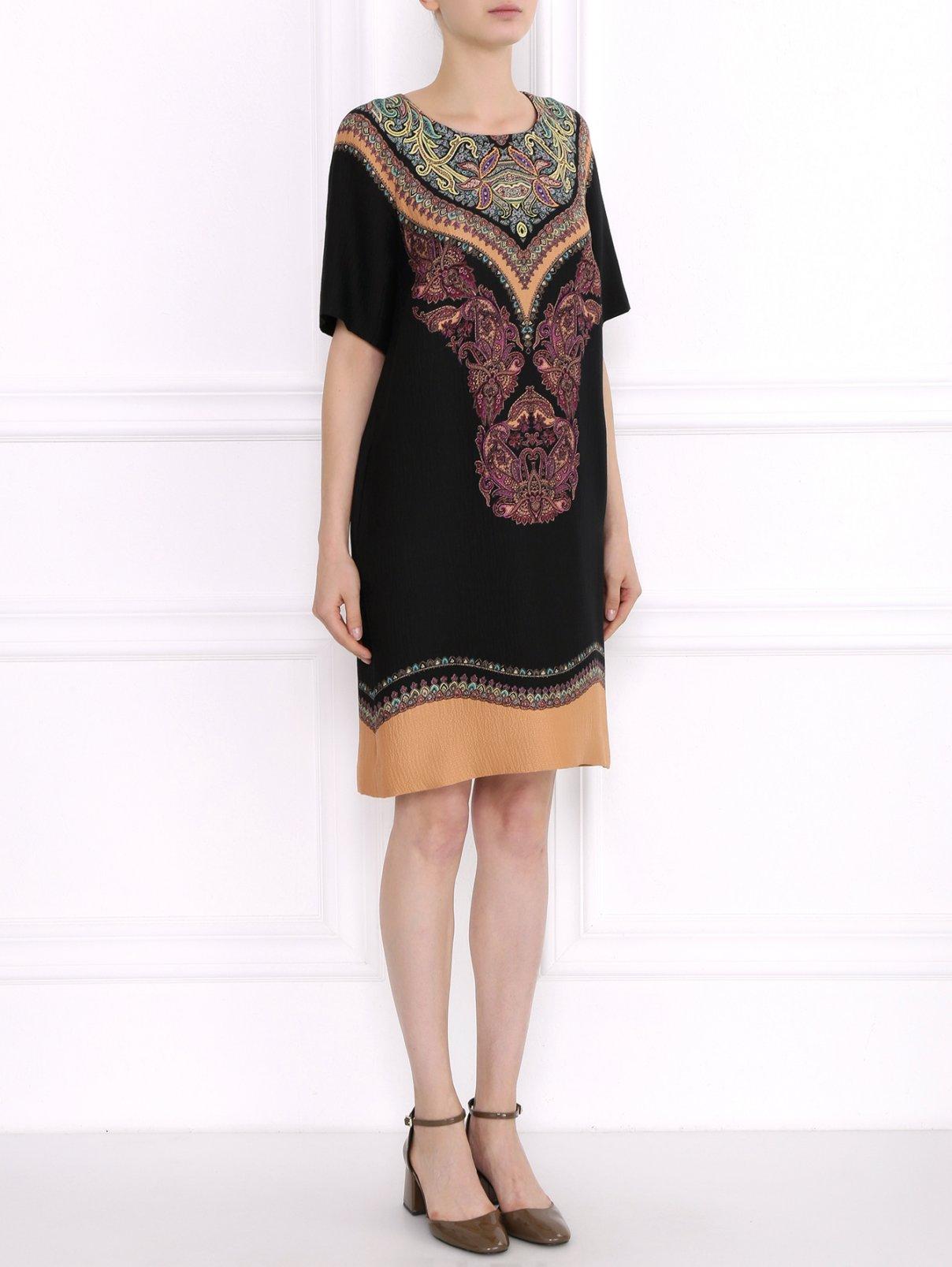 Платье-мини из фактурного шелка с узором Etro  –  Модель Общий вид