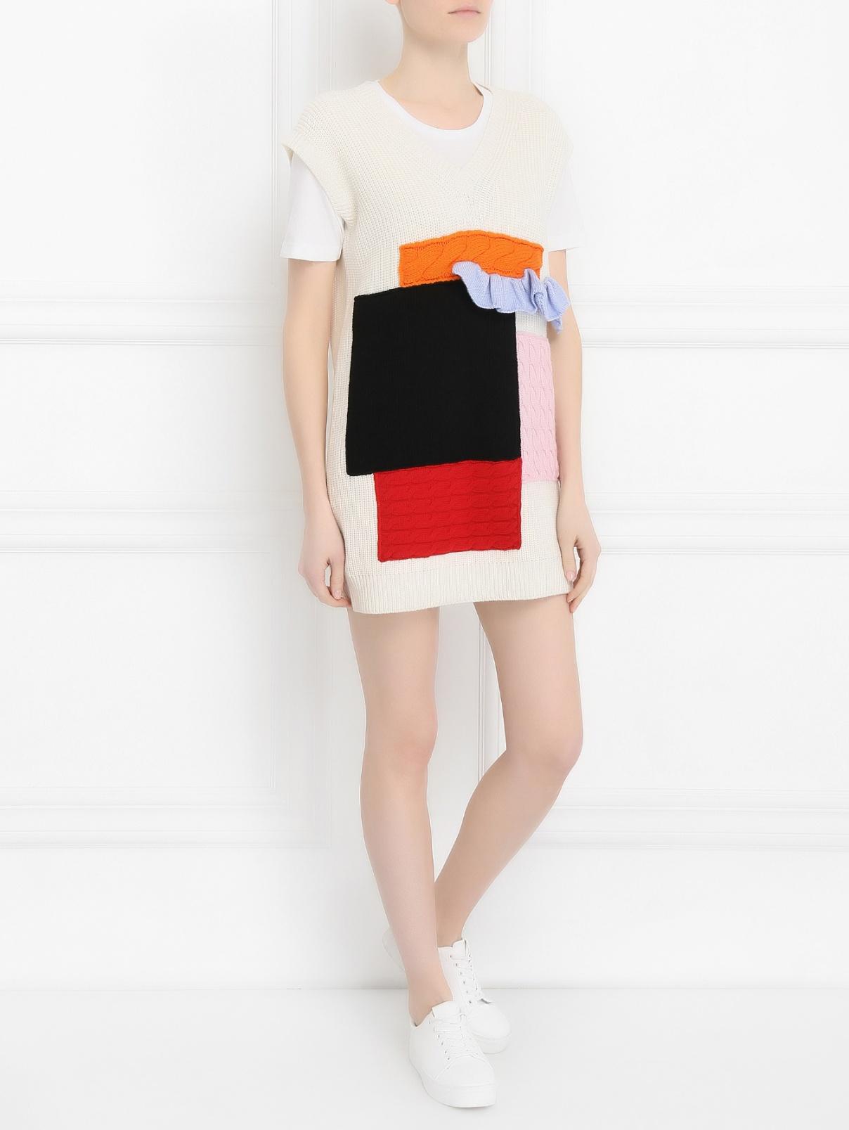 Платье из шерсти крупной вязки с аппликацией MSGM  –  Модель Общий вид  – Цвет:  Белый