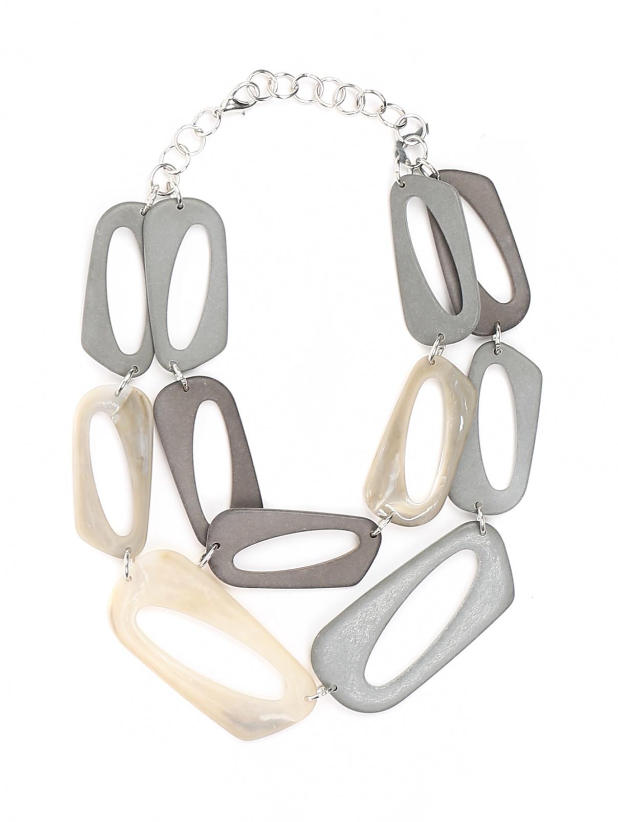 Ожерелье из пластика геометрической формы Persona by Marina Rinaldi  –  Общий вид  – Цвет:  Серый
