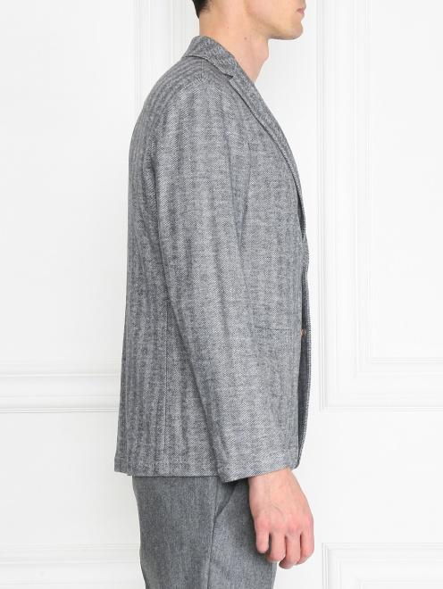 Пиджак однобортный из хлопка и шерсти  - МодельВерхНиз2