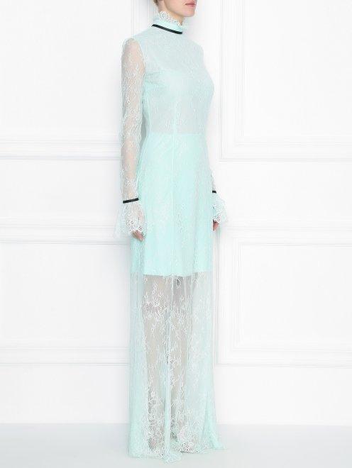 Платье-макси из кружева с контрастной отделкой - МодельВерхНиз