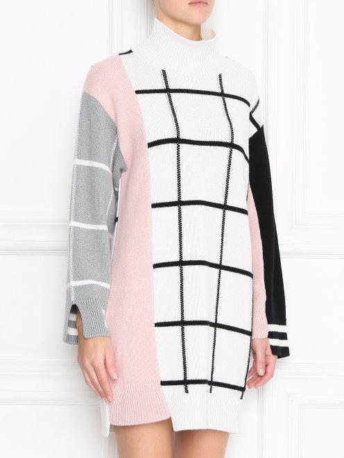 Платье трикотажное из шерсти и кашемира с рисунком - МодельВерхНиз