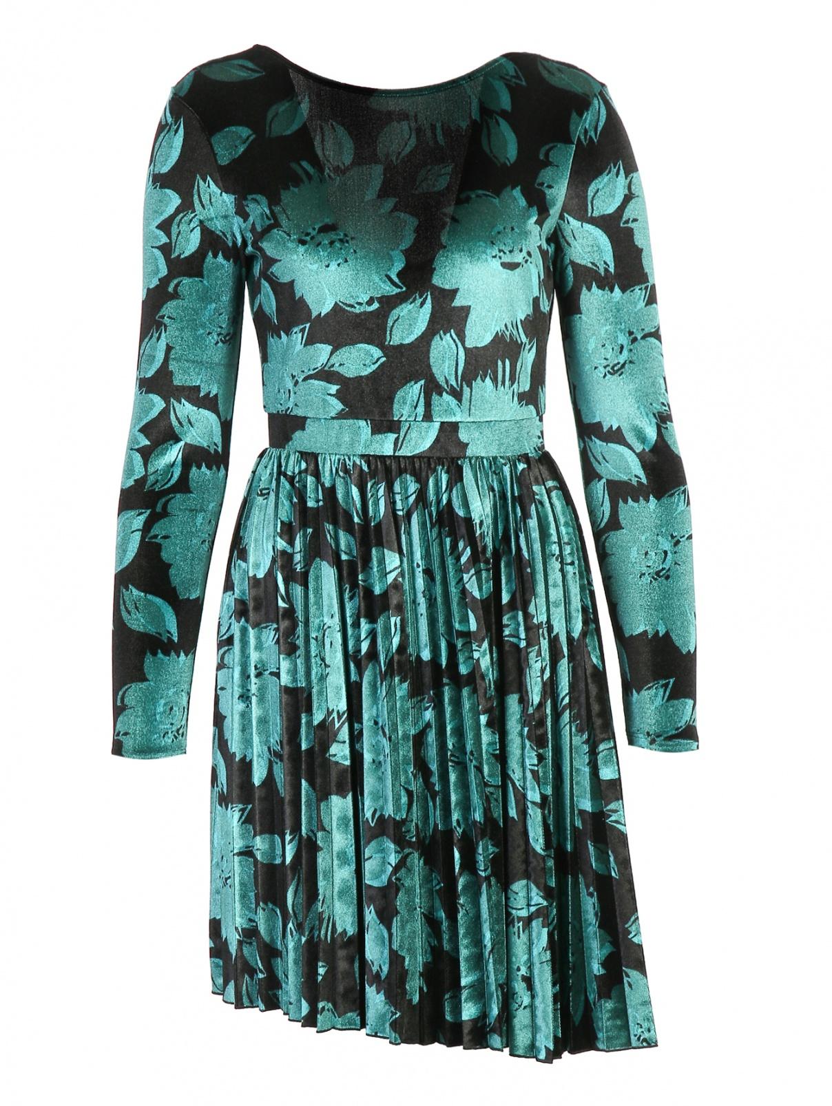 Платье-мини из бархата с цветочным узором Max&Co  –  Общий вид