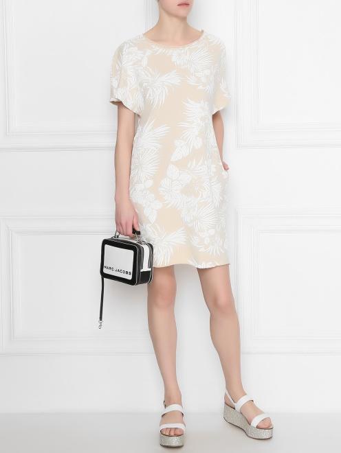 Платье хлопковое с цветочным узором - Общий вид