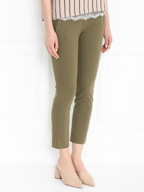 Зауженные брюки из хлопкового джерси - МодельВерхНиз
