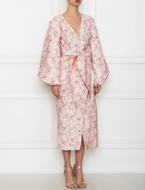 Платье-миди с цветочным узором - МодельВерхНиз