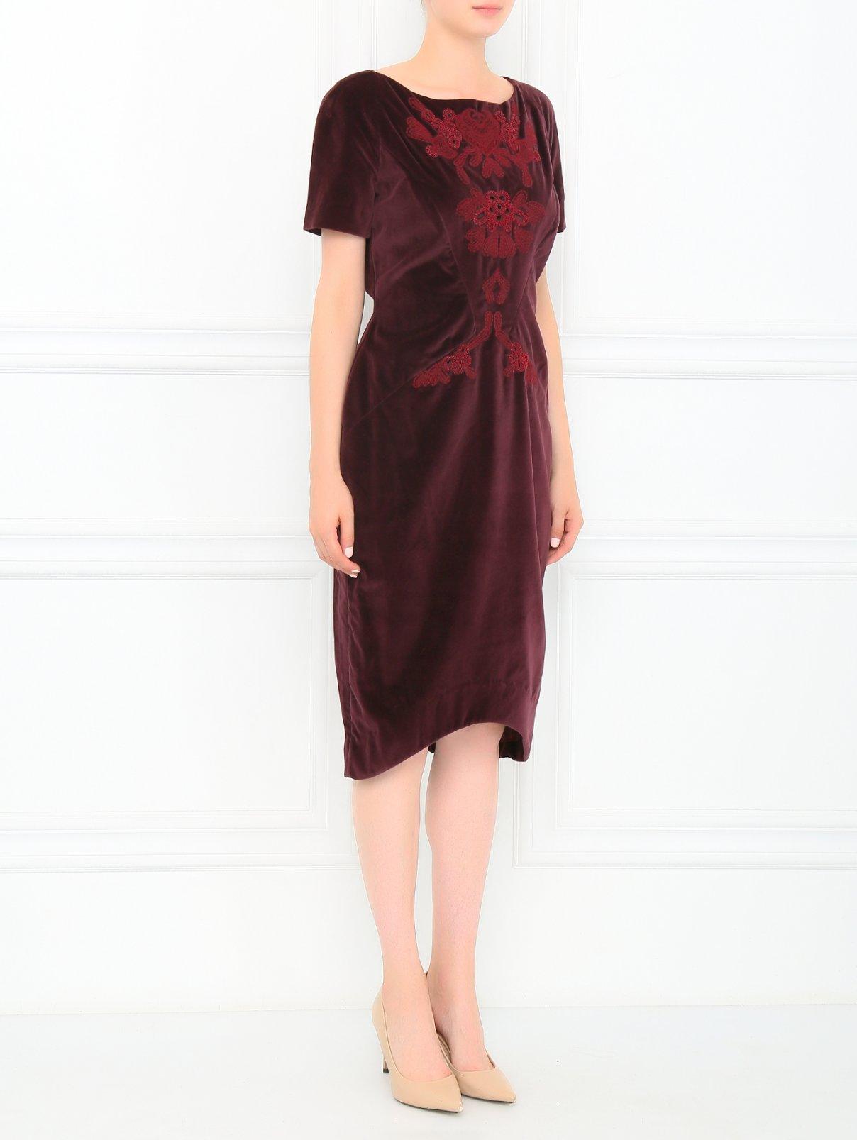 Платье из хлопка с аппликацией из бисера Zac Posen  –  Модель Общий вид  – Цвет:  Красный