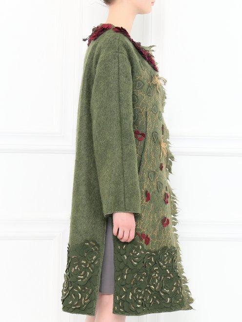 Пальто из шерсти с боковыми карманами декорированное вышивкой  - Модель Верх-Низ2