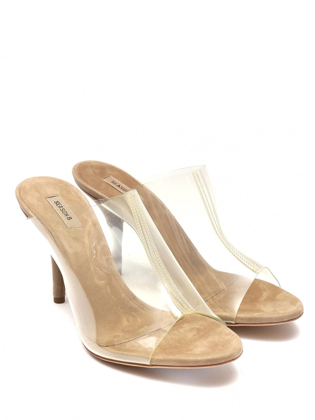 Босоножки на среднем каблуке Yeezy  –  Общий вид  – Цвет:  Бежевый