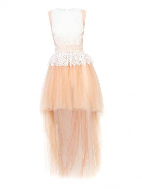 Платье асимметричного кроя с кружевной отделкой - Общий вид
