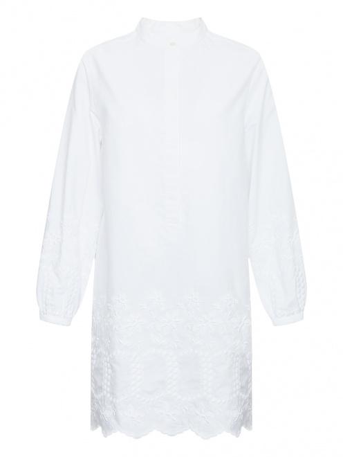 Платье-рубашка из хлопка с вышивкой - Общий вид