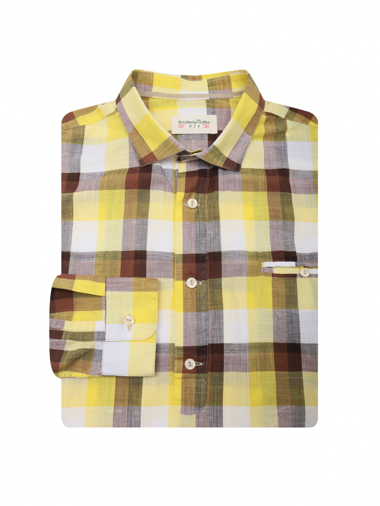 Рубашка из хлопка в клетку Tintoria Mattei  –  Общий вид  – Цвет:  Желтый