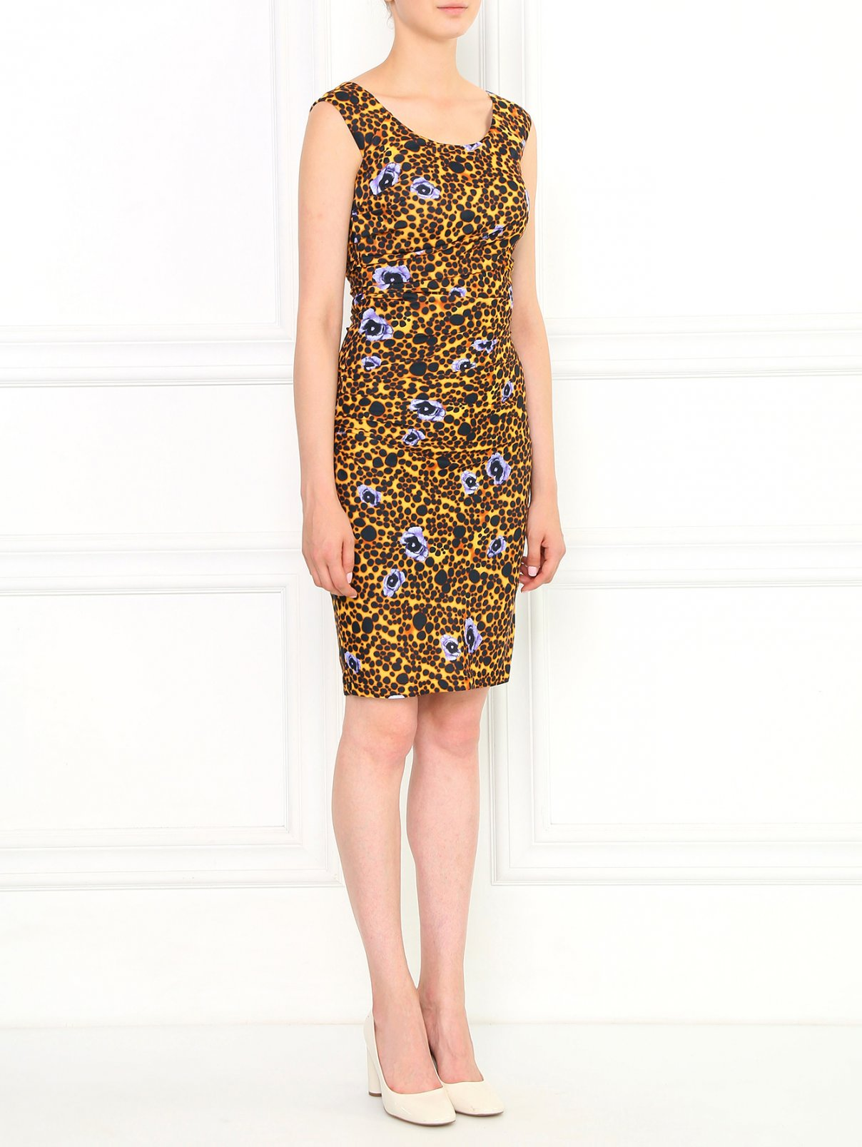 Трикотажное платье с анималистичным узором Versace Collection  –  Модель Общий вид  – Цвет:  Узор